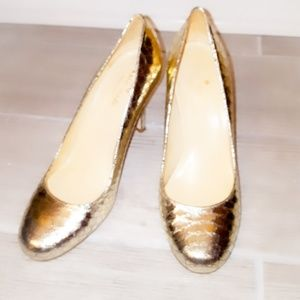 kate spade Shoes - KATE SPADE New York Gold Snakeskin Heels